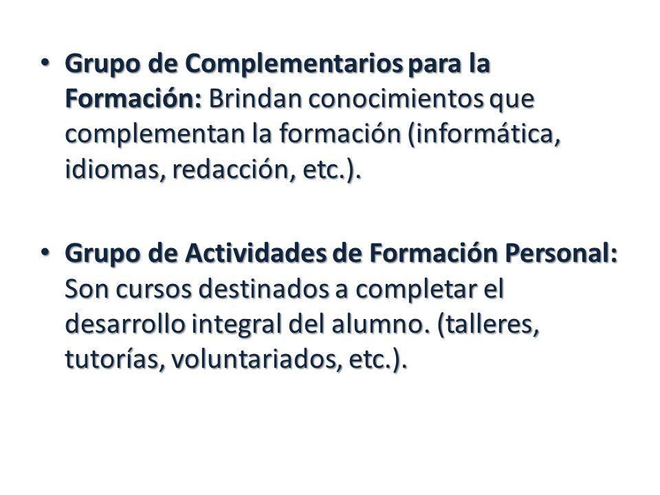 Grupo de Complementarios para la Formación: Brindan conocimientos que complementan la formación (informática, idiomas, redacción, etc.).