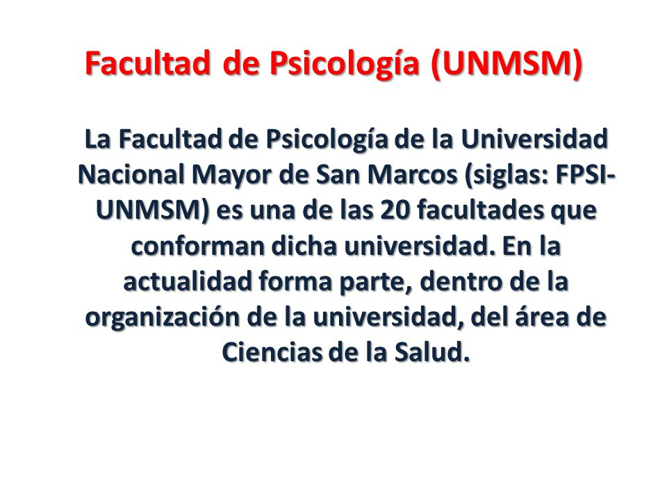 Facultad de Psicología (UNMSM)