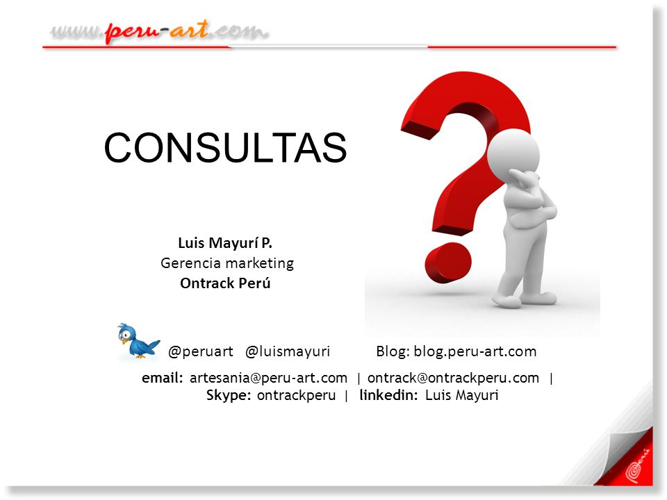 Skype: ontrackperu | linkedin: Luis Mayuri