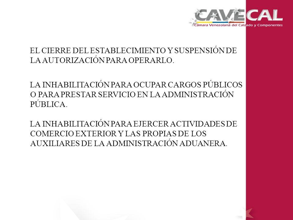 EL CIERRE DEL ESTABLECIMIENTO Y SUSPENSIÓN DE LA AUTORIZACIÓN PARA OPERARLO.