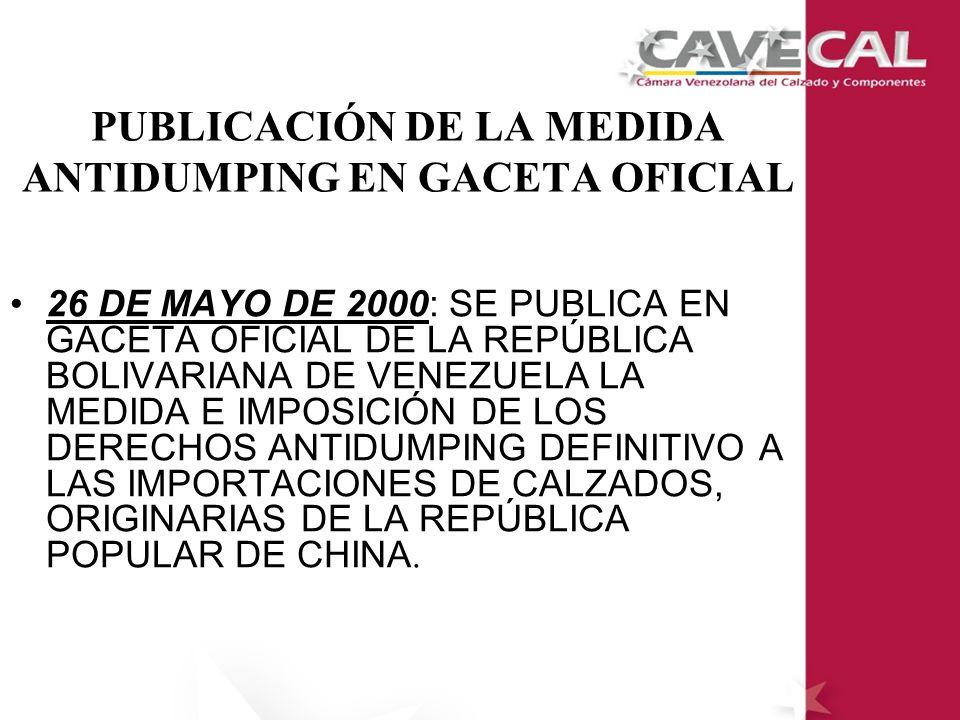 PUBLICACIÓN DE LA MEDIDA ANTIDUMPING EN GACETA OFICIAL