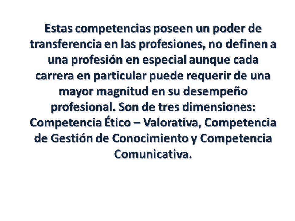 Estas competencias poseen un poder de transferencia en las profesiones, no definen a una profesión en especial aunque cada carrera en particular puede requerir de una mayor magnitud en su desempeño profesional.
