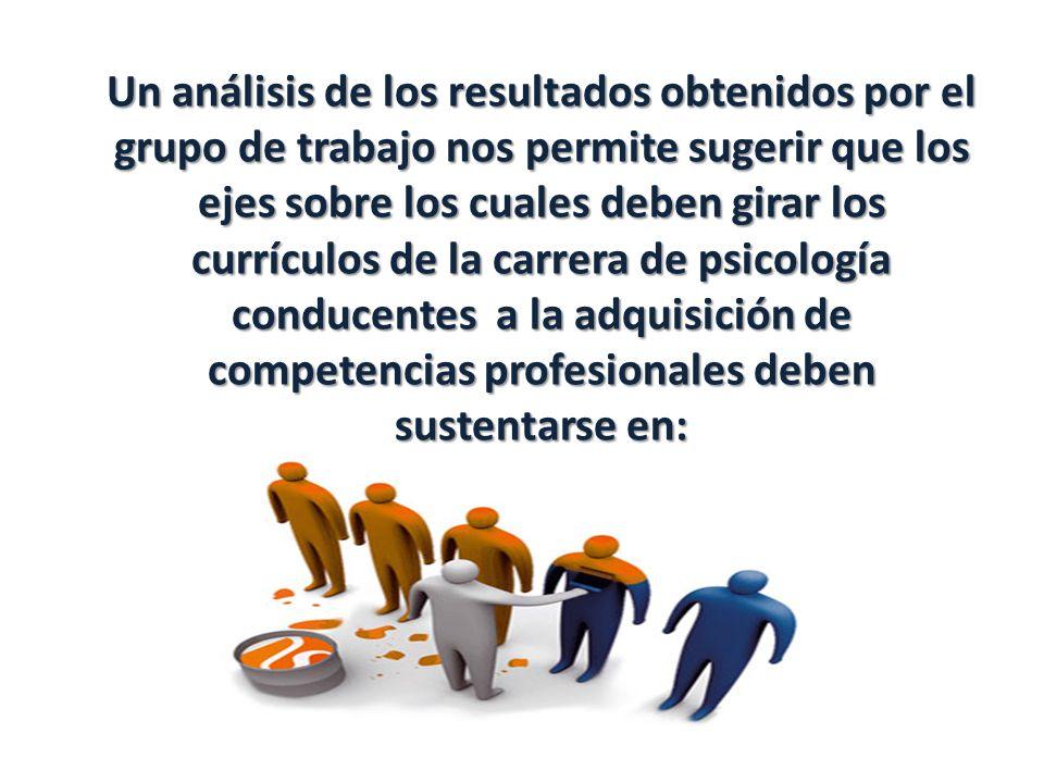 Un análisis de los resultados obtenidos por el grupo de trabajo nos permite sugerir que los ejes sobre los cuales deben girar los currículos de la carrera de psicología conducentes a la adquisición de competencias profesionales deben sustentarse en: