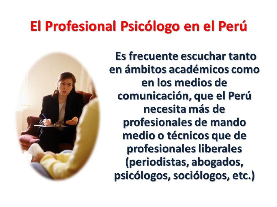 El Profesional Psicólogo en el Perú