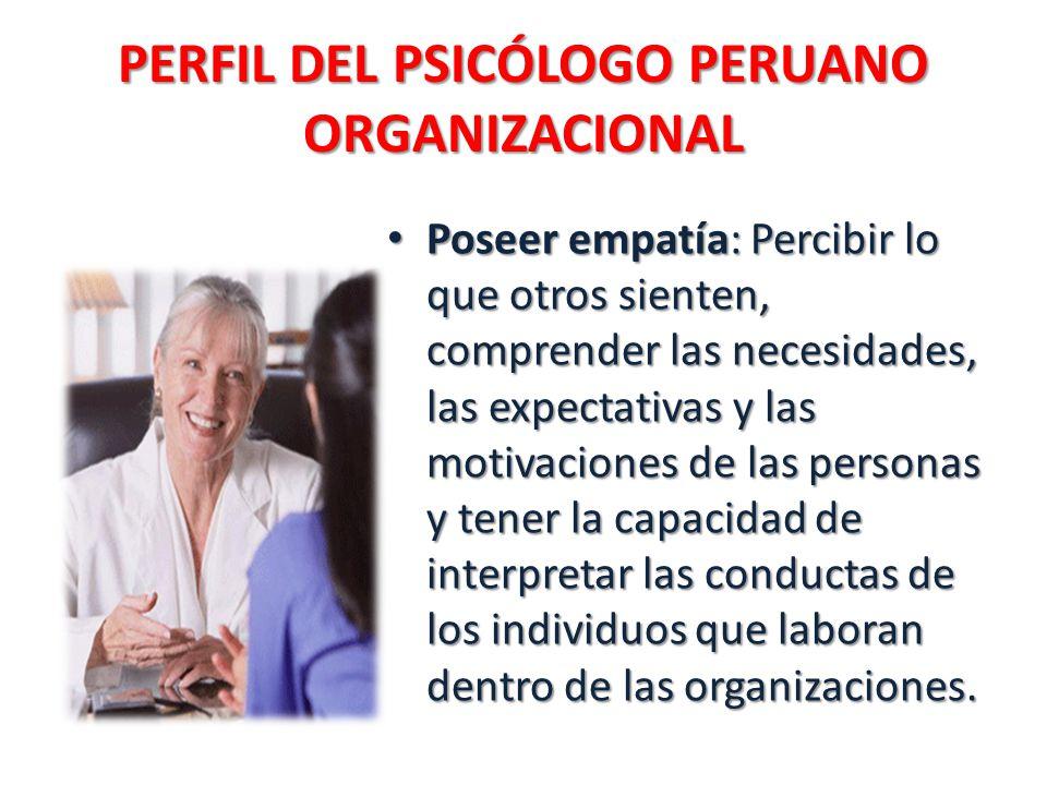 PERFIL DEL PSICÓLOGO PERUANO ORGANIZACIONAL