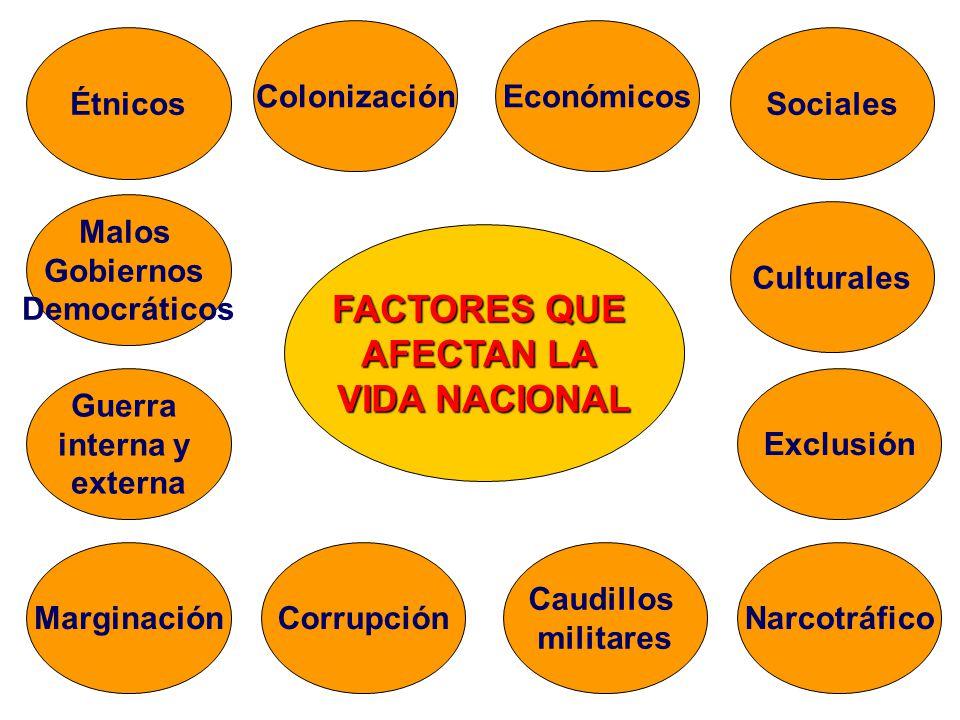 FACTORES QUE AFECTAN LA VIDA NACIONAL