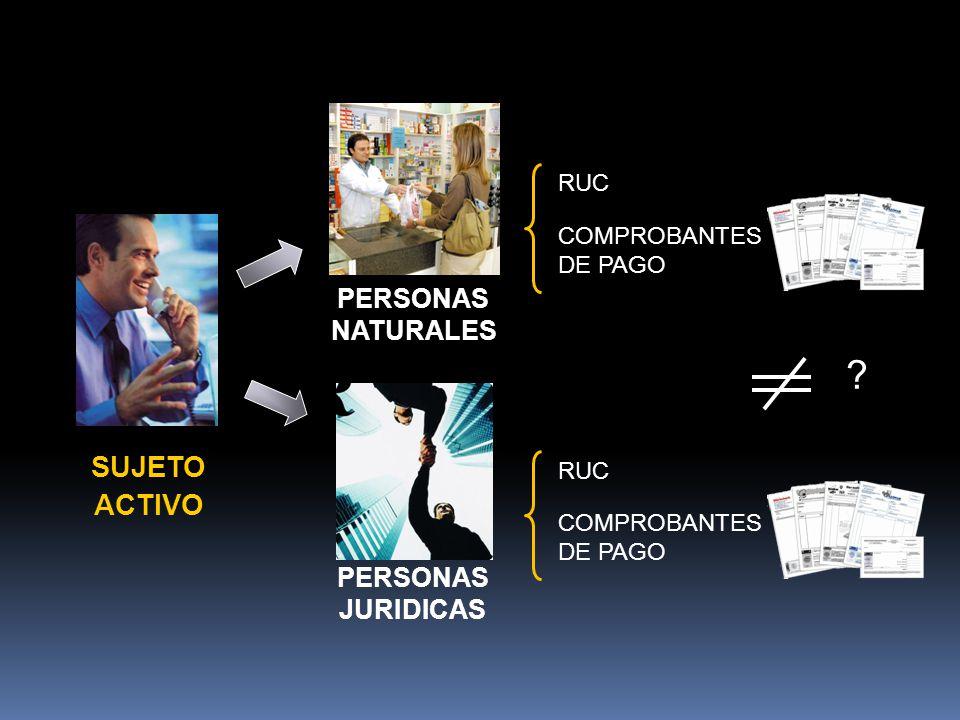 SUJETO ACTIVO PERSONAS NATURALES PERSONAS JURIDICAS RUC COMPROBANTES