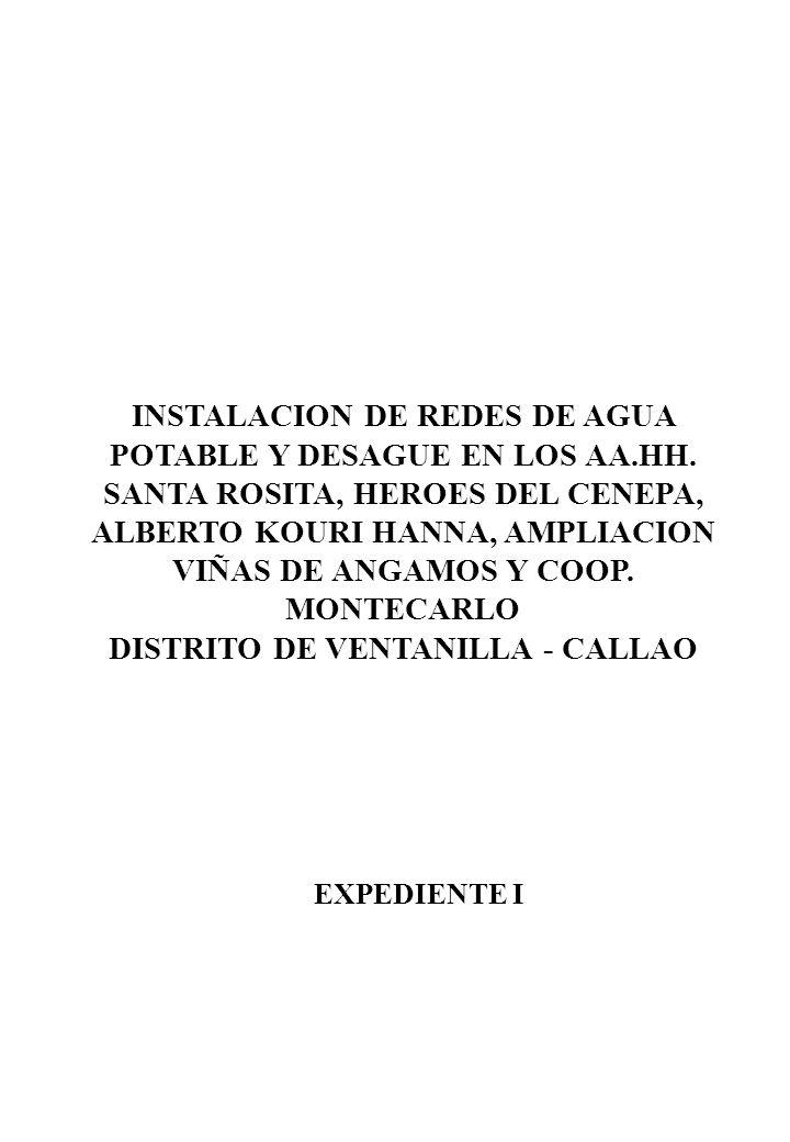 INSTALACION DE REDES DE AGUA POTABLE Y DESAGUE EN LOS AA. HH