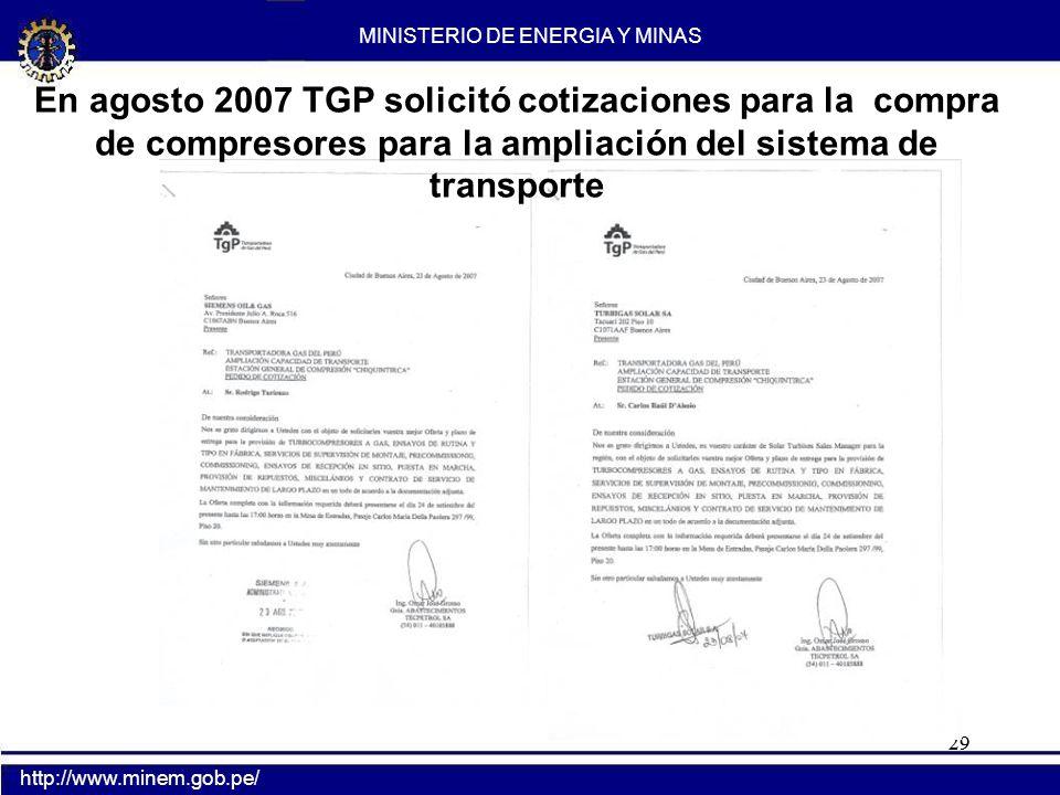 En Diciembre TGP concretó el compromiso de compra de compresores con la firma Siemens