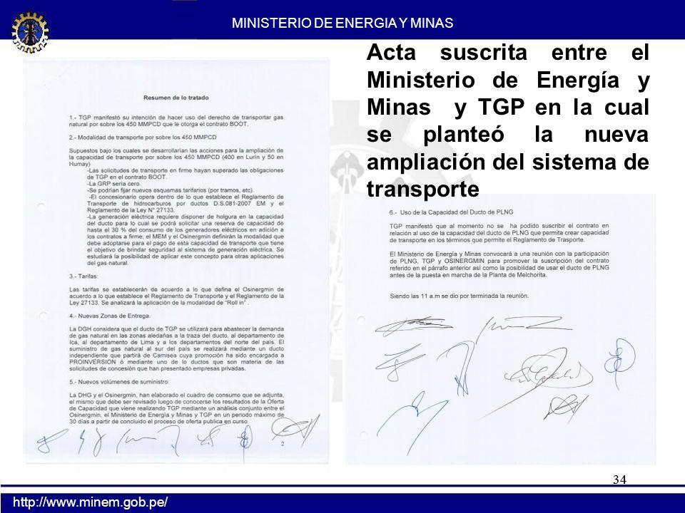 Oficio en el cual el Ministerio de Energía y Minas requiere a TGP la ampliación de la nueva capacidad de transporte hasta un mínimo de 1000 MMPCD