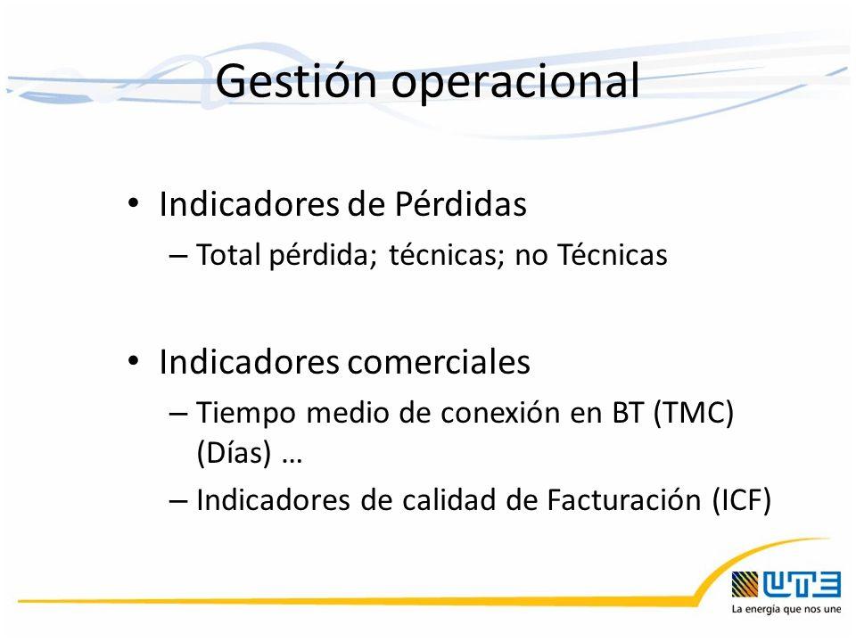 Gestión operacional Indicadores de Pérdidas Indicadores comerciales