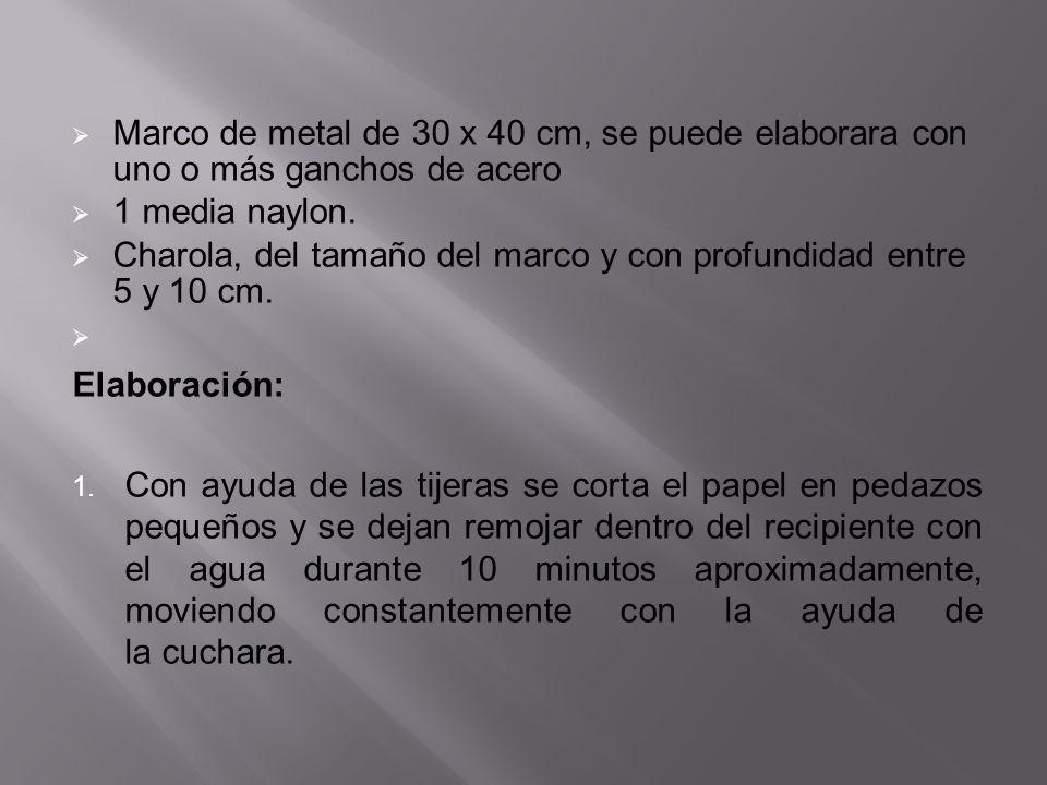 Marco de metal de 30 x 40 cm, se puede elaborara con uno o más ganchos de acero