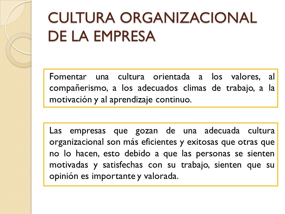 CULTURA ORGANIZACIONAL DE LA EMPRESA