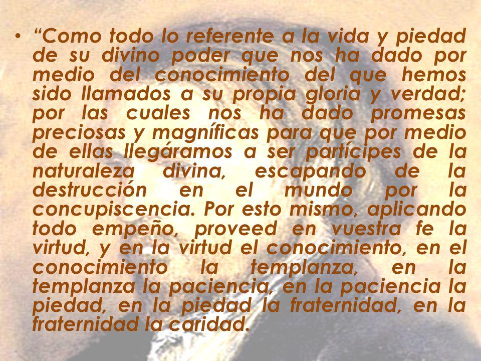 Como todo lo referente a la vida y piedad de su divino poder que nos ha dado por medio del conocimiento del que hemos sido llamados a su propia gloria y verdad; por las cuales nos ha dado promesas preciosas y magníficas para que por medio de ellas llegáramos a ser partícipes de la naturaleza divina, escapando de la destrucción en el mundo por la concupiscencia.