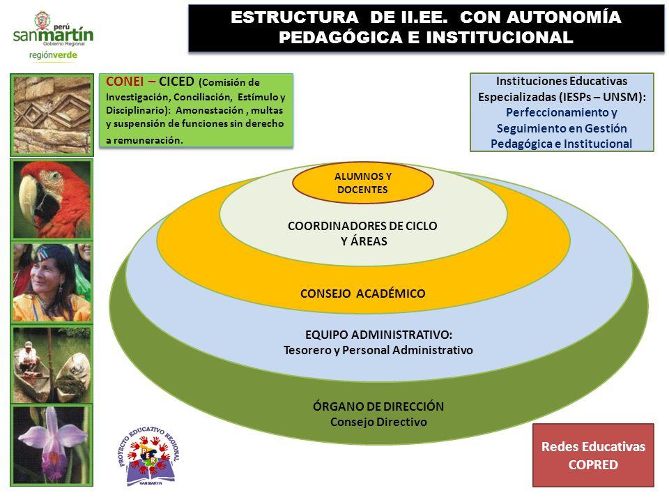 ESTRUCTURA DE II.EE. CON AUTONOMÍA PEDAGÓGICA E INSTITUCIONAL