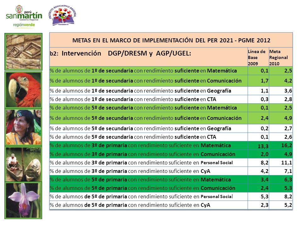 METAS EN EL MARCO DE IMPLEMENTACIÓN DEL PER 2021 - PGME 2012