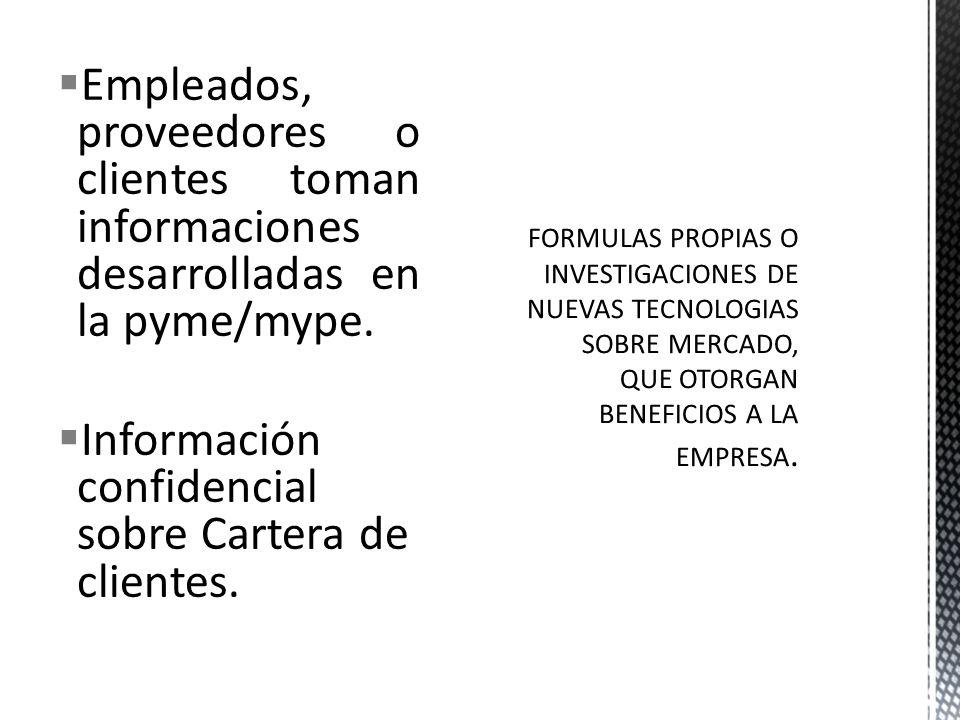Información confidencial sobre Cartera de clientes.