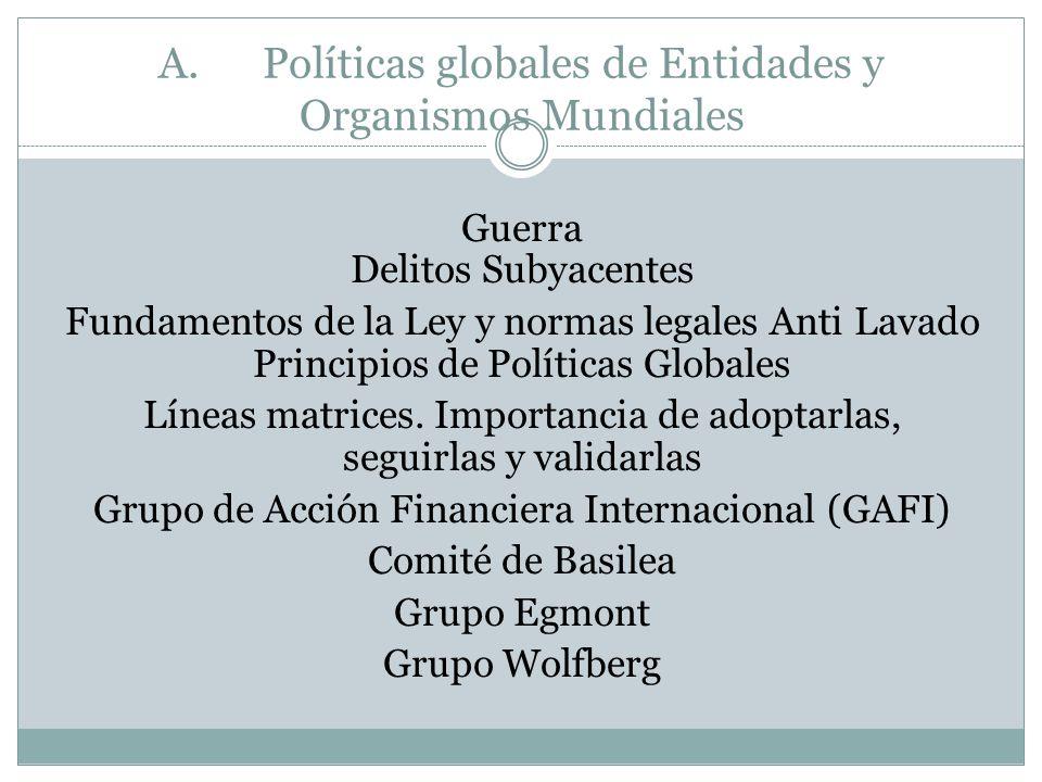 A. Políticas globales de Entidades y Organismos Mundiales