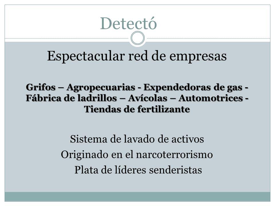 Detectó Espectacular red de empresas Sistema de lavado de activos