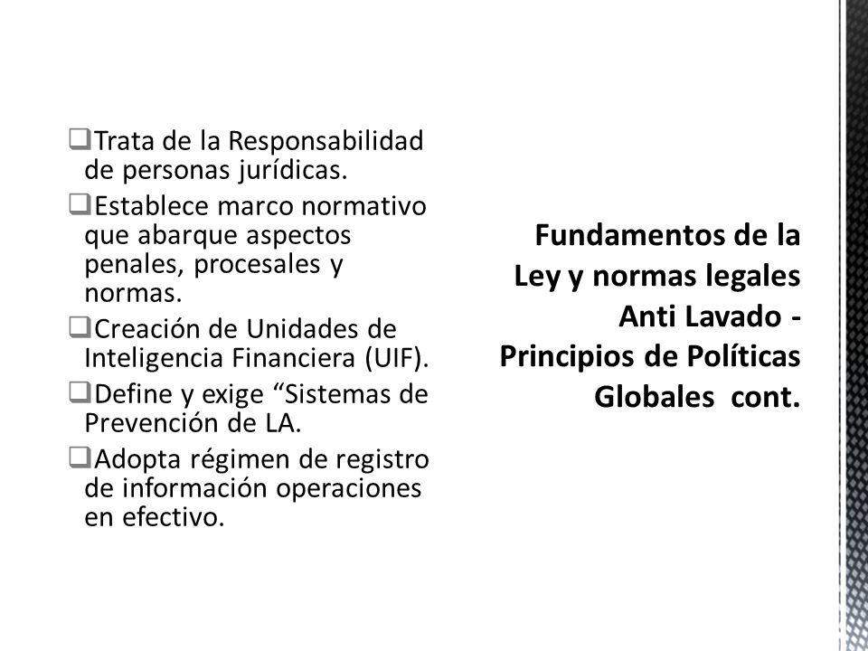 Fundamentos de la Ley y normas legales Anti Lavado - Principios de Políticas Globales cont.