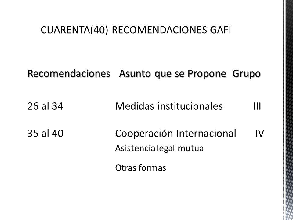 CUARENTA(40) RECOMENDACIONES GAFI