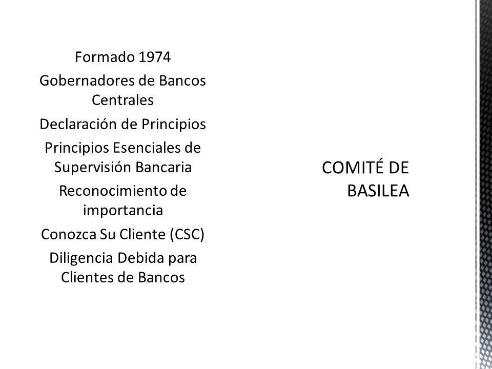 Formado 1974 Gobernadores de Bancos Centrales Declaración de Principios Principios Esenciales de Supervisión Bancaria Reconocimiento de importancia Conozca Su Cliente (CSC) Diligencia Debida para Clientes de Bancos