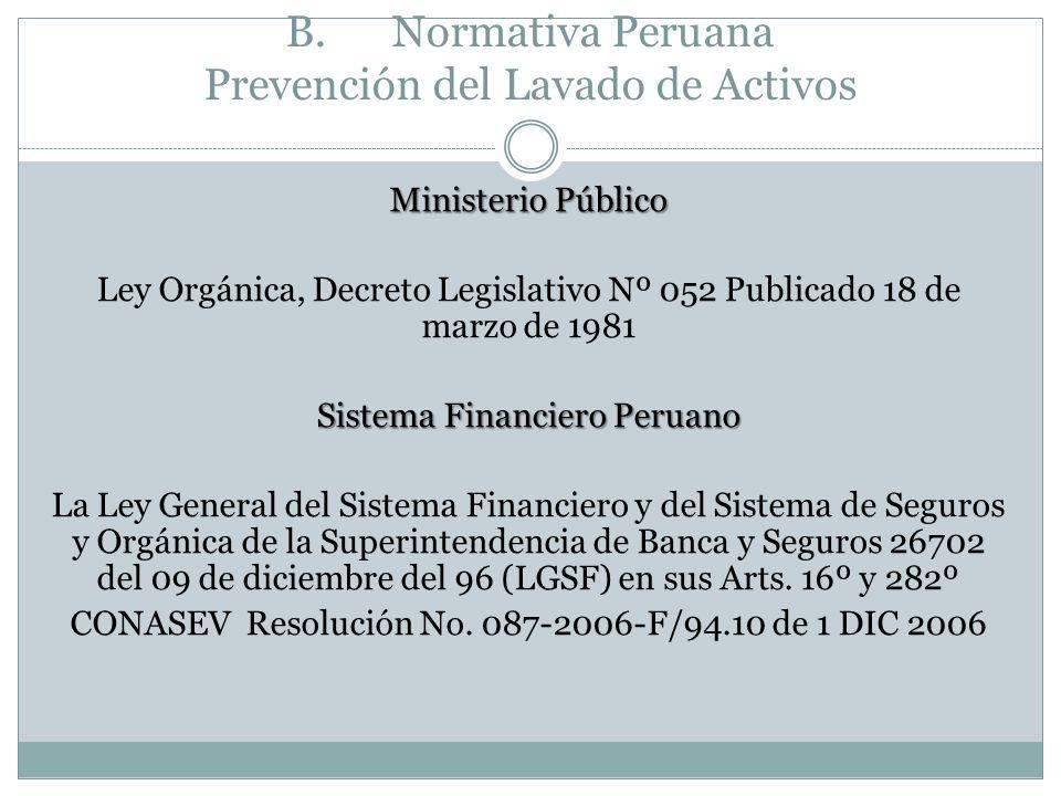 B. Normativa Peruana Prevención del Lavado de Activos