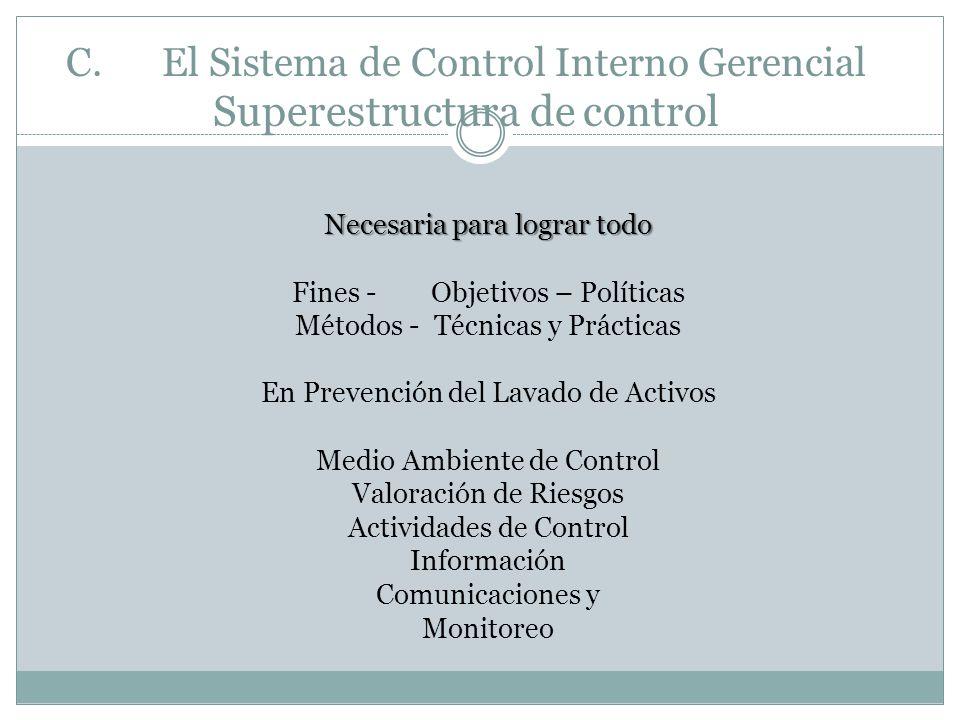 C. El Sistema de Control Interno Gerencial Superestructura de control