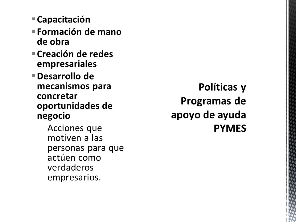 Políticas y Programas de apoyo de ayuda PYMES