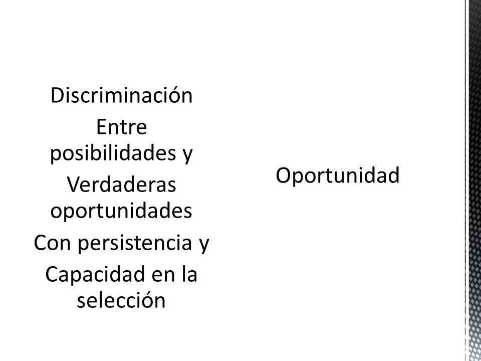 Discriminación Entre posibilidades y Verdaderas oportunidades Con persistencia y Capacidad en la selección