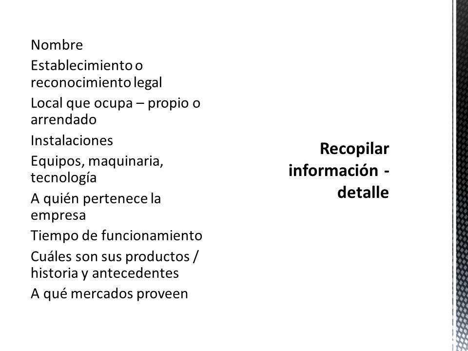 Recopilar información - detalle