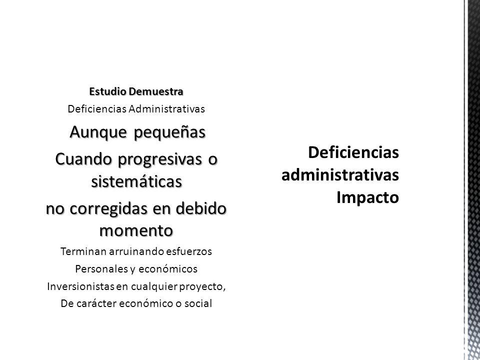 Deficiencias administrativas Impacto