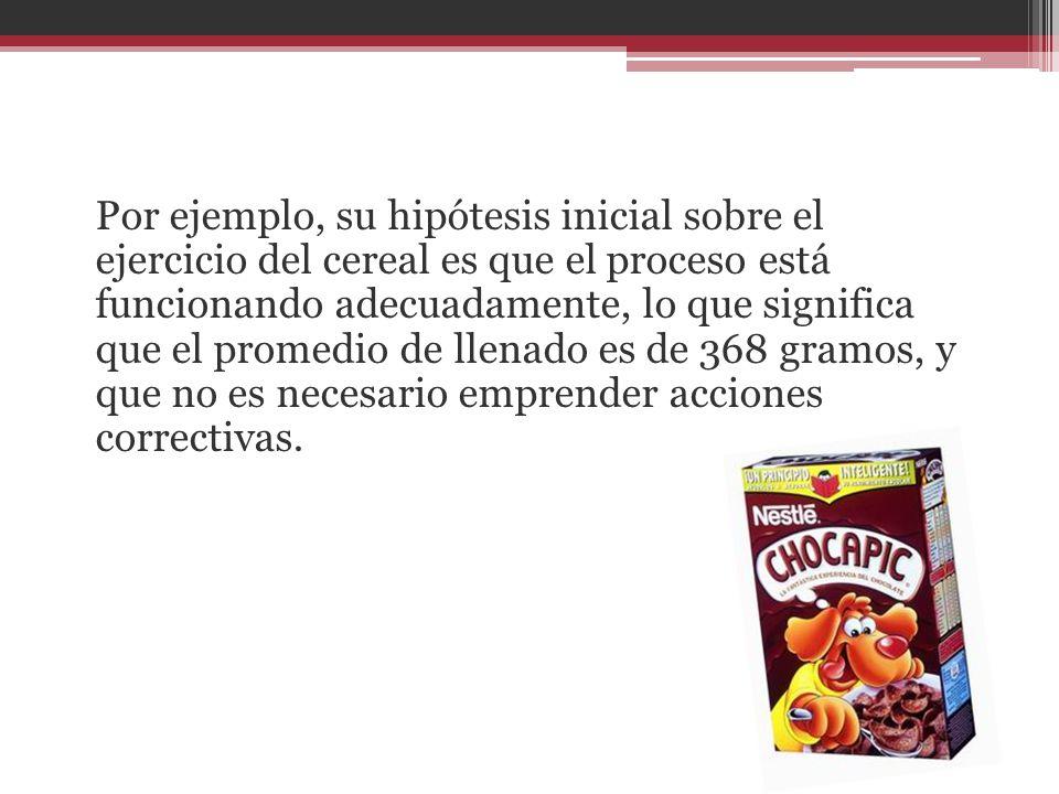 Por ejemplo, su hipótesis inicial sobre el ejercicio del cereal es que el proceso está funcionando adecuadamente, lo que significa que el promedio de llenado es de 368 gramos, y que no es necesario emprender acciones correctivas.
