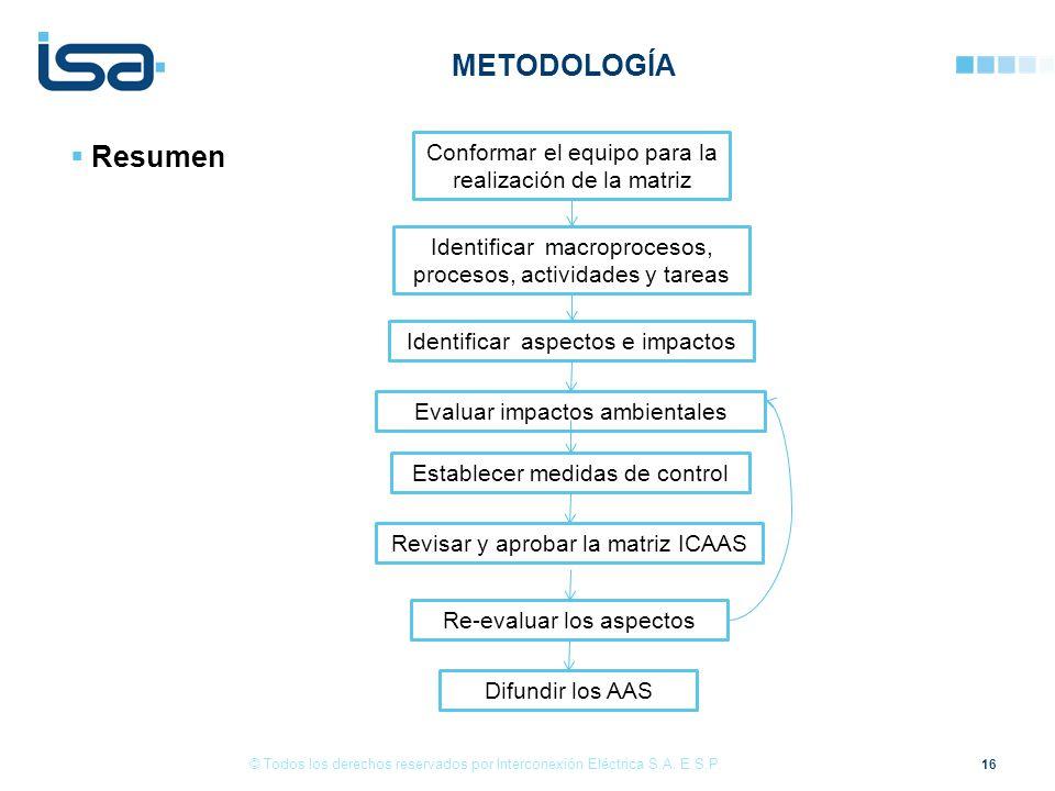 METODOLOGÍA Resumen. Conformar el equipo para la realización de la matriz. Identificar macroprocesos, procesos, actividades y tareas.