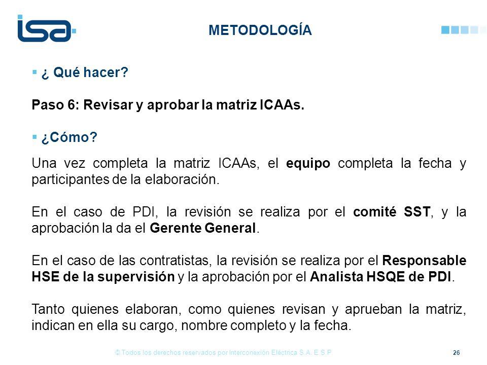 Paso 6: Revisar y aprobar la matriz ICAAs. ¿Cómo