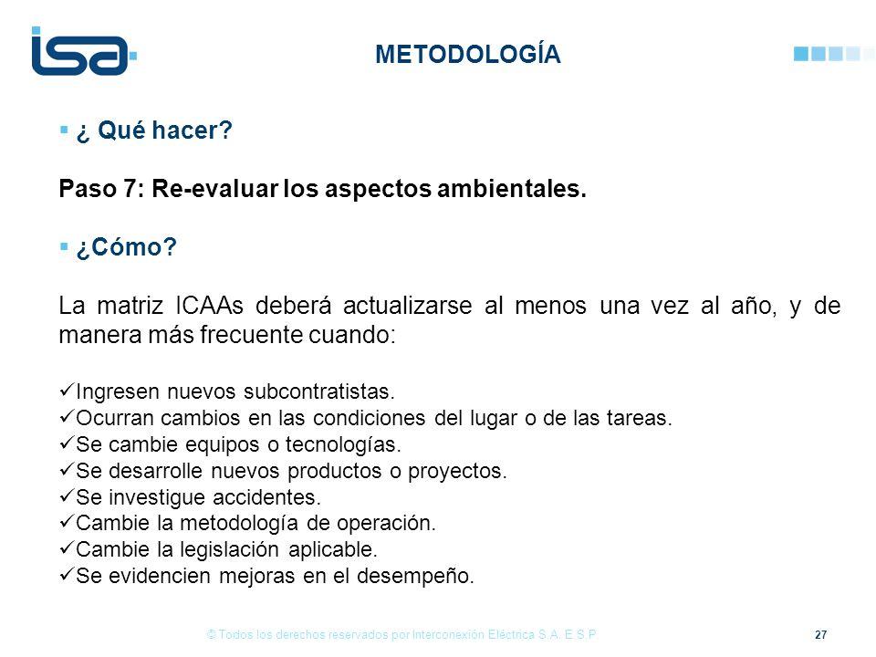 Paso 7: Re-evaluar los aspectos ambientales. ¿Cómo