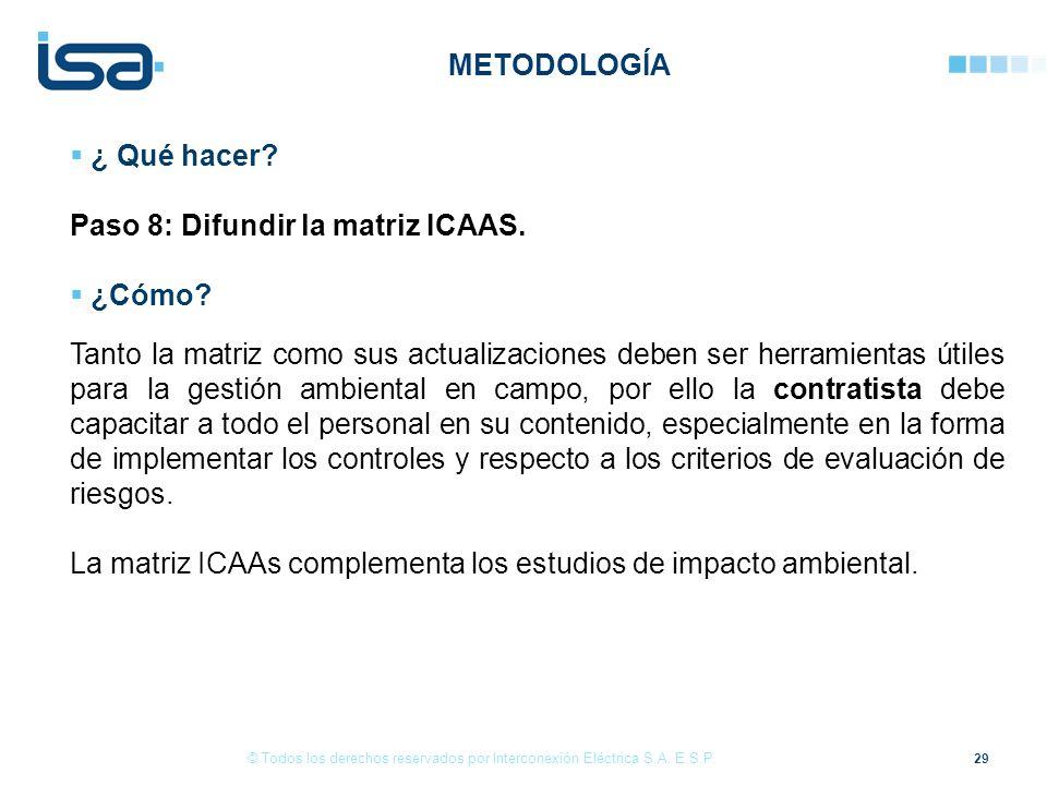 Paso 8: Difundir la matriz ICAAS. ¿Cómo