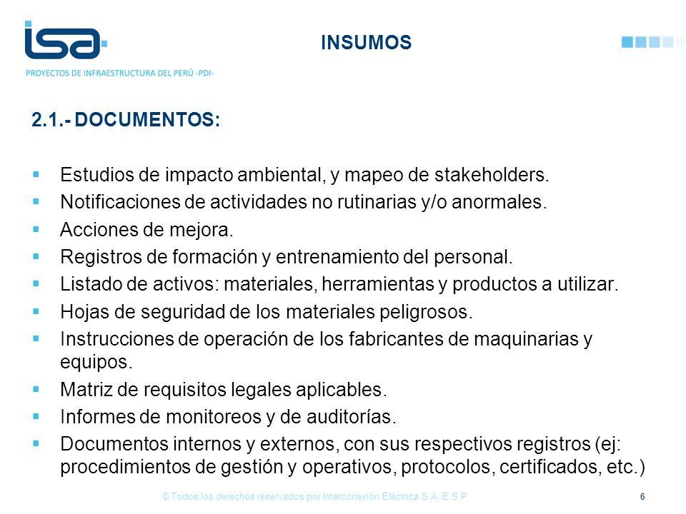 Estudios de impacto ambiental, y mapeo de stakeholders.