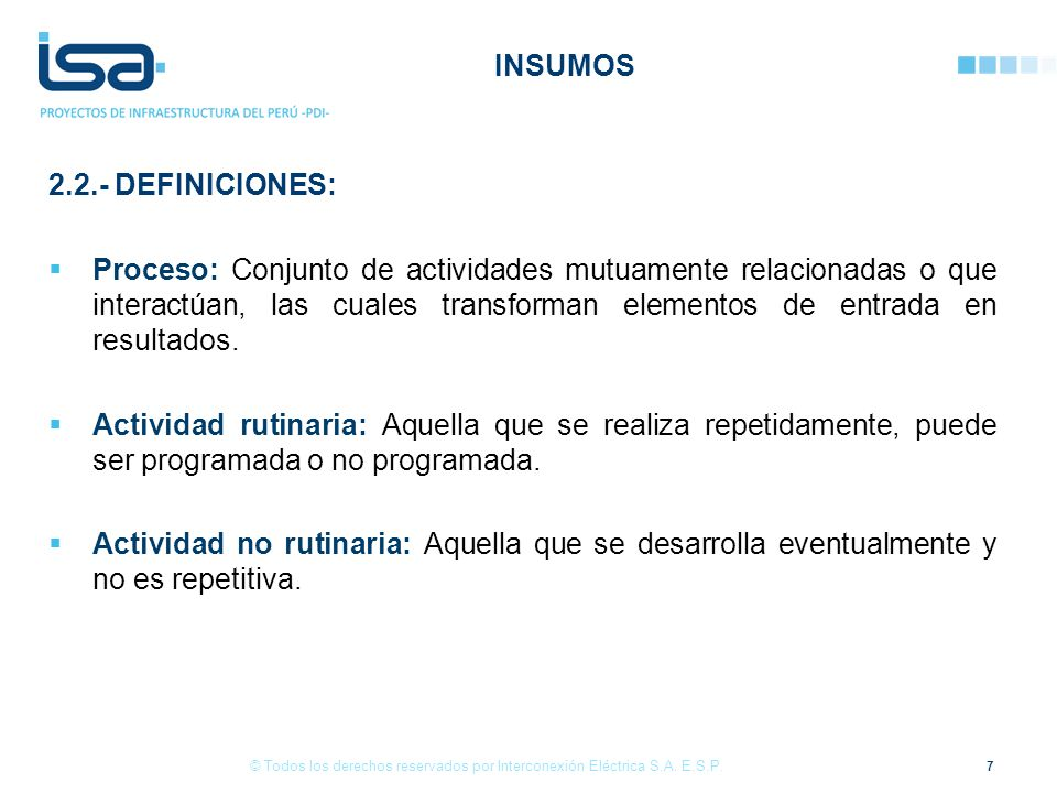 INSUMOS 2.2.- DEFINICIONES: