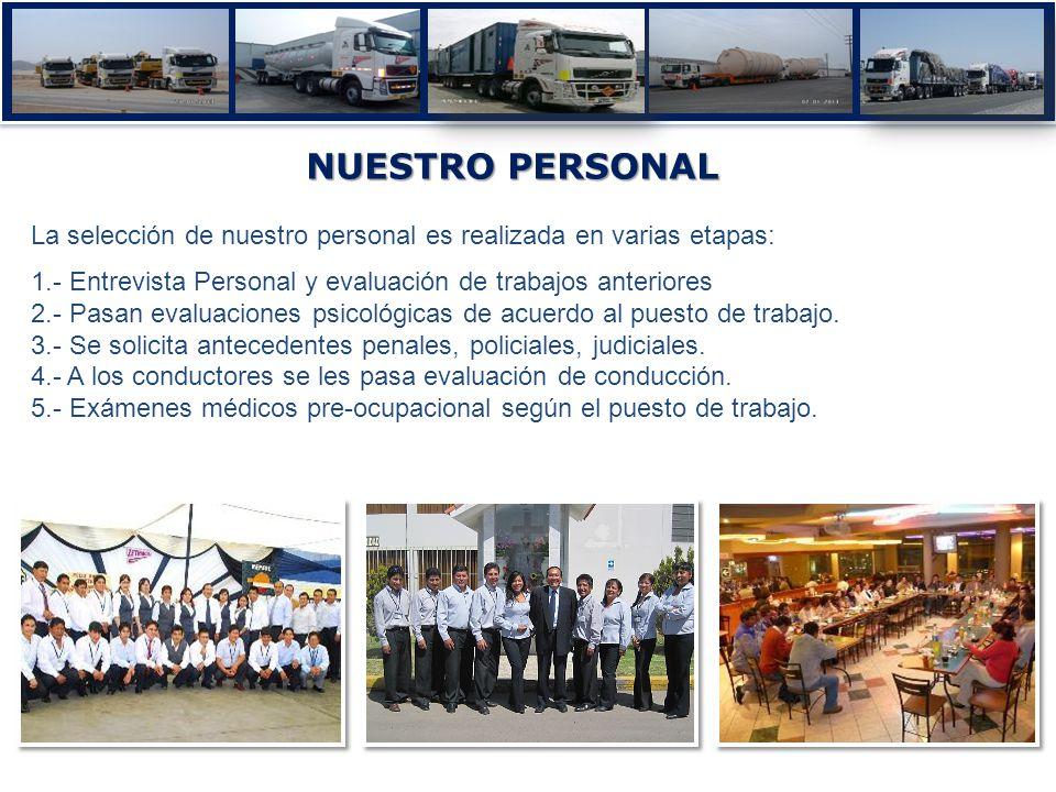 NUESTRO PERSONAL La selección de nuestro personal es realizada en varias etapas: 1.- Entrevista Personal y evaluación de trabajos anteriores.