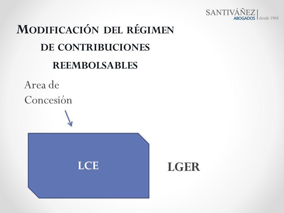 Modificación del régimen de contribuciones reembolsables