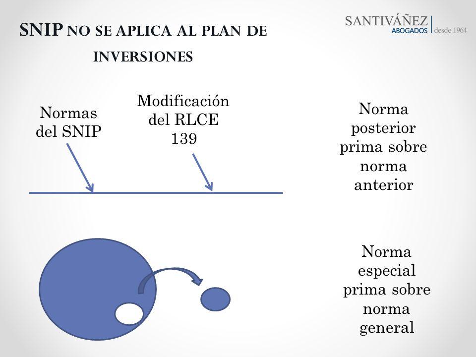 SNIP no se aplica al plan de inversiones