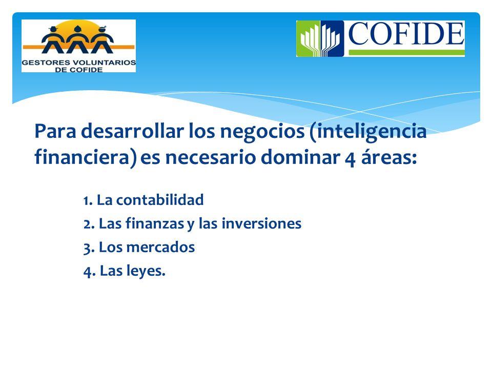 Para desarrollar los negocios (inteligencia financiera) es necesario dominar 4 áreas: