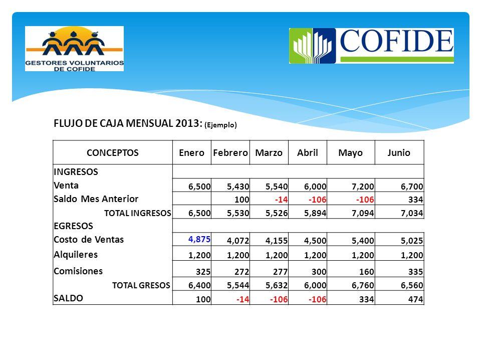FLUJO DE CAJA MENSUAL 2013: (Ejemplo)