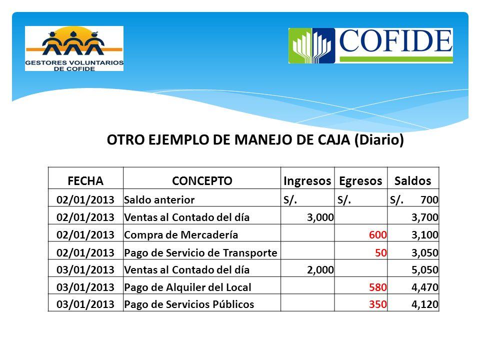 OTRO EJEMPLO DE MANEJO DE CAJA (Diario)