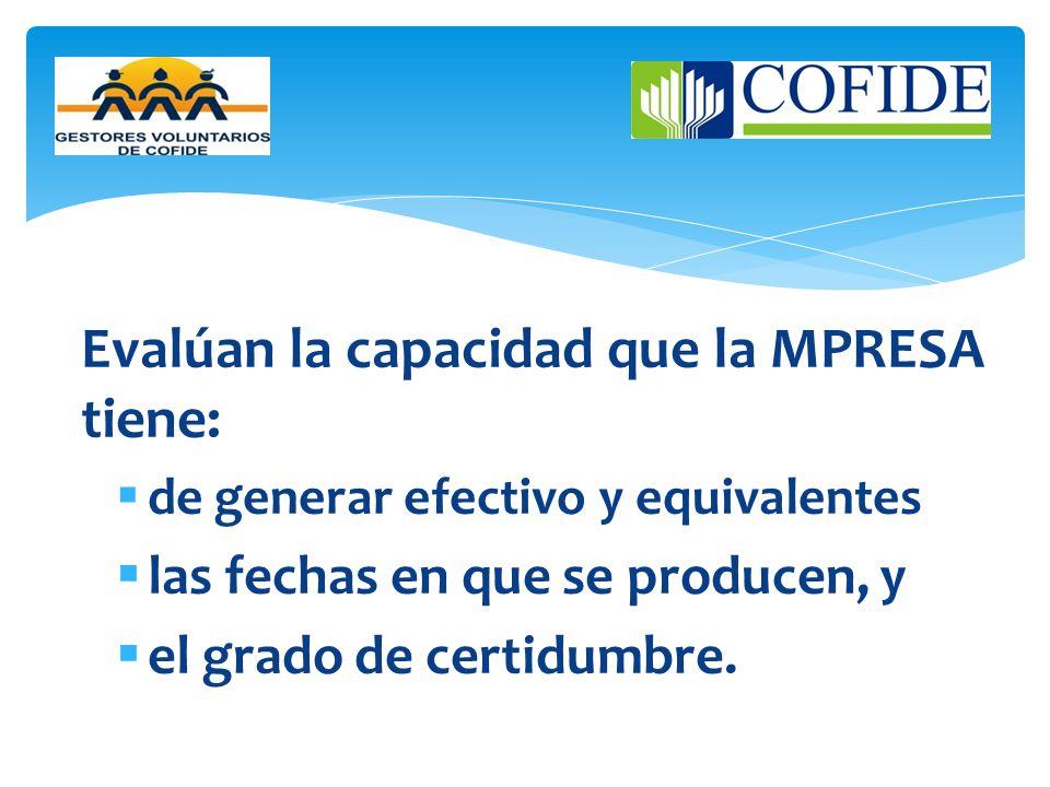 Evalúan la capacidad que la MPRESA tiene: