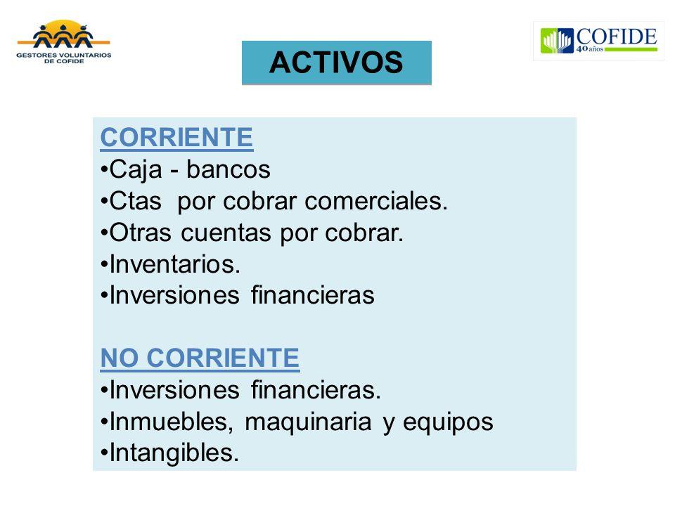 ACTIVOS CORRIENTE Caja - bancos Ctas por cobrar comerciales.