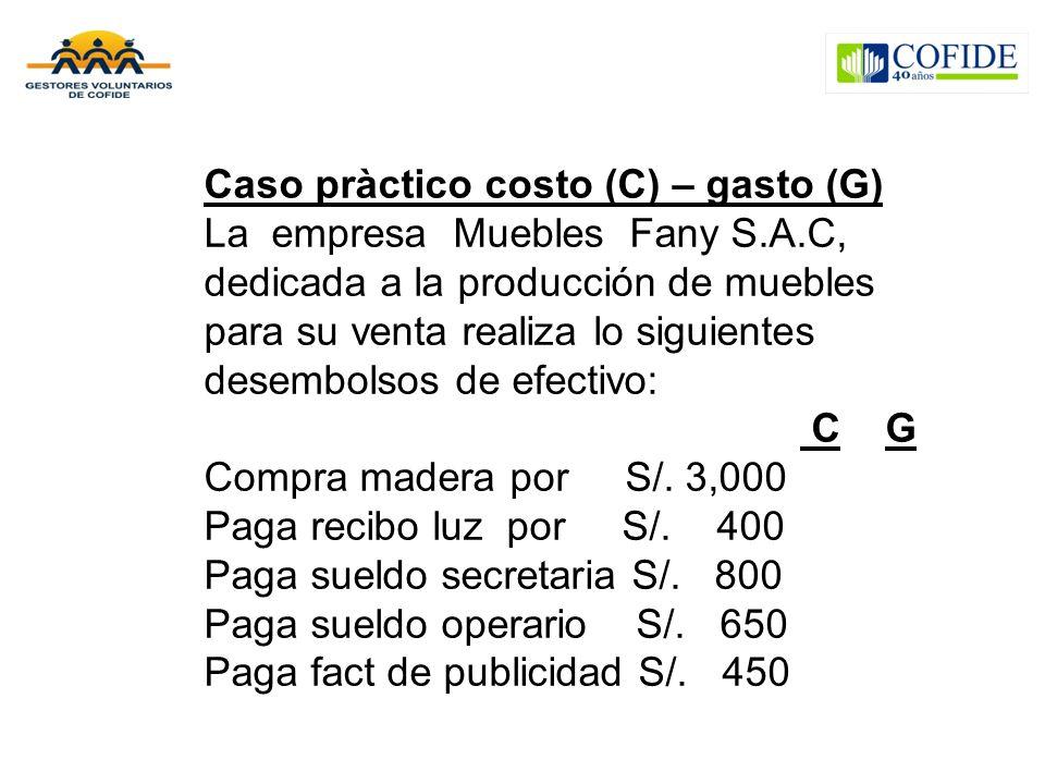 Caso pràctico costo (C) – gasto (G)