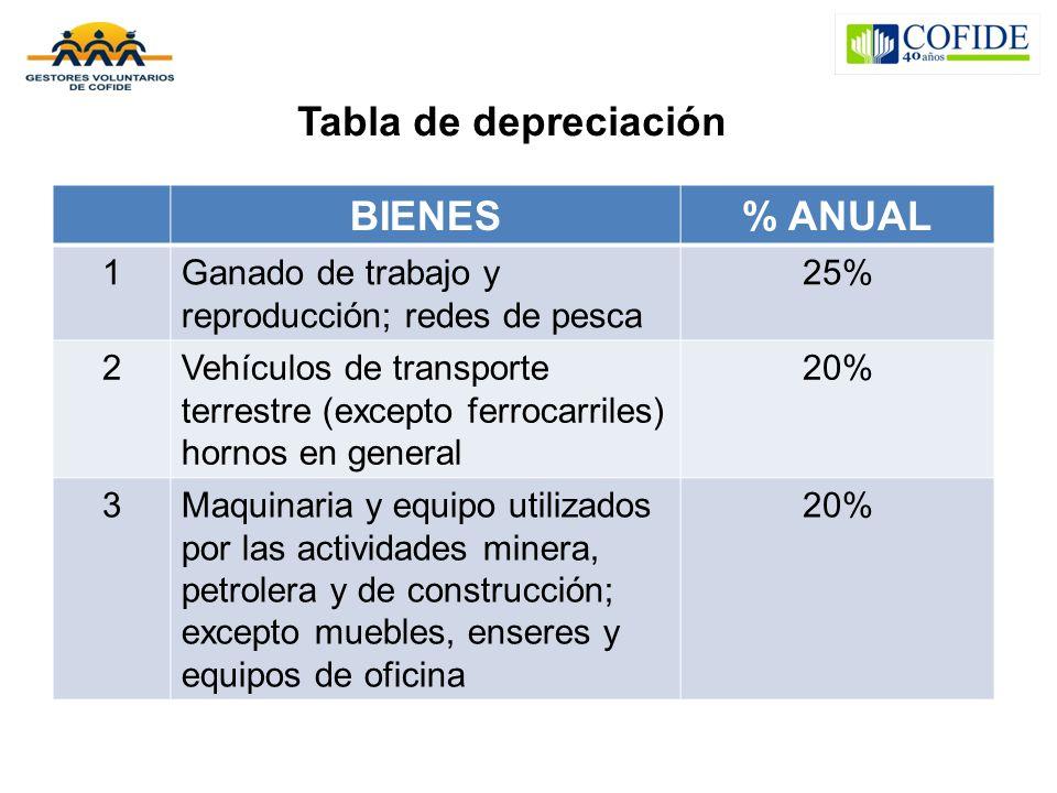 Tabla de depreciación BIENES % ANUAL
