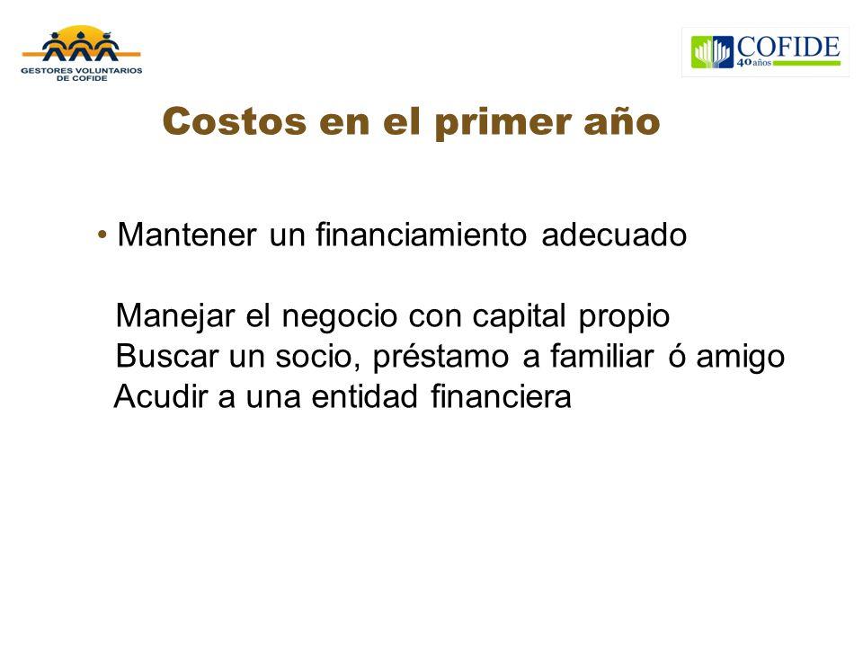Costos en el primer año Mantener un financiamiento adecuado